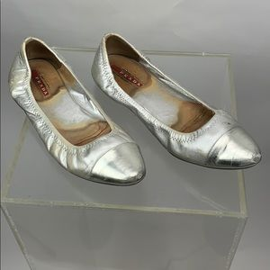 Prada Metalic Flats Size 37